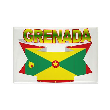 Grenada Flag Ribbon Rectangle Magnet