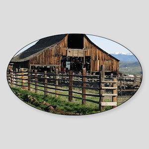 Barn in Early Morning Sun Sticker (Oval)