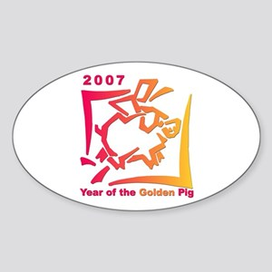 """2007 - Year of the Golden Pi Oval Sticker"