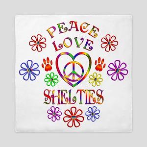 Peace Love Shelties Queen Duvet