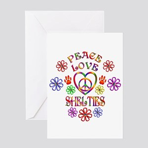 Peace Love Shelties Greeting Cards