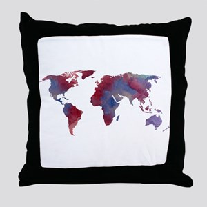 World Map Silhouette Throw Pillow