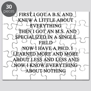 funny phd doctorate joke gifts t-shirts Puzzle