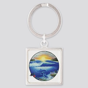 3-dolphans-copy Square Keychain