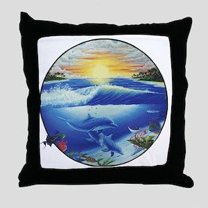 3-dolphans-copy Throw Pillow