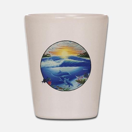 3-dolphans-copy Shot Glass