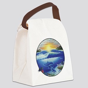 3-dolphans-copy Canvas Lunch Bag