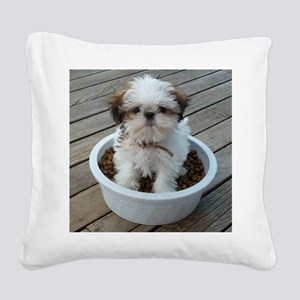 Shih Tzu Puppy in Bowl Square Canvas Pillow