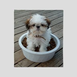 Shih Tzu Puppy in Bowl Throw Blanket