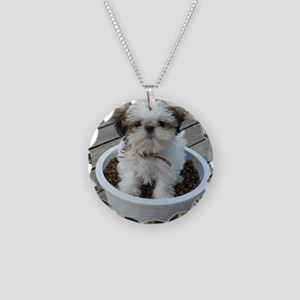 Shih Tzu Puppy in Bowl Necklace Circle Charm