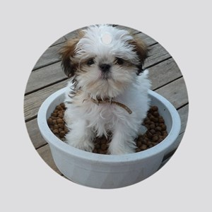 Shih Tzu Puppy in Bowl Round Ornament