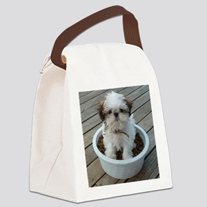 Shih Tzu Puppy in Bowl Canvas Lunch Bag