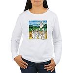 Bunny Rabbits Jump Women's Long Sleeve T-Shirt