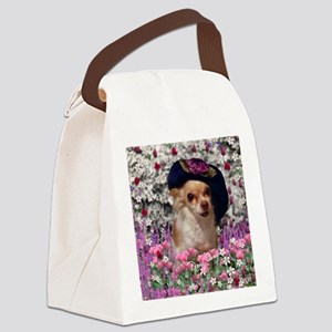 Chi Chi Chihuahua Flowers Canvas Lunch Bag