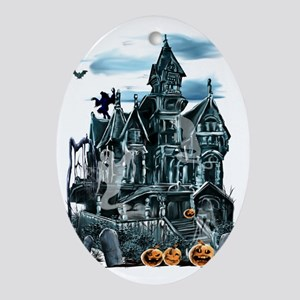 Haunted House Trans Oval Ornament