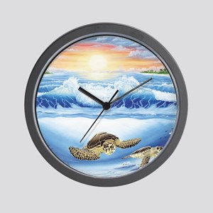 3-turtles world square Wall Clock