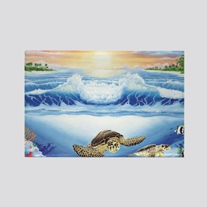 turtles world large Rectangle Magnet