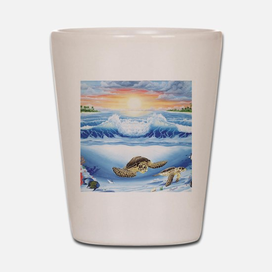 turtles world large Shot Glass