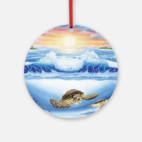 turtles world large Round Ornament