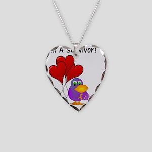 3-chc I am a survivorl bird t Necklace Heart Charm
