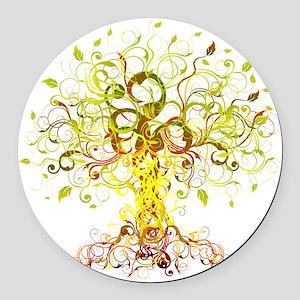 Tree Art Round Car Magnet