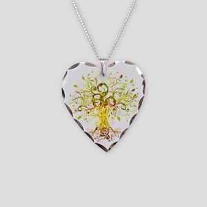 Tree Art Necklace Heart Charm
