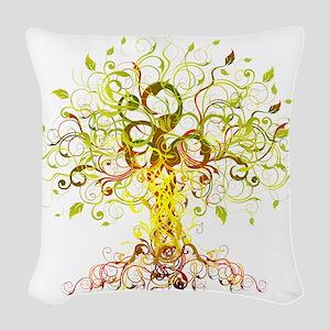 Tree Art Woven Throw Pillow