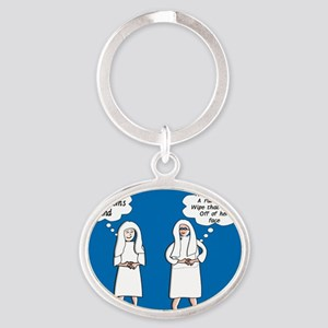 Two Sisters Rule Oval Keychain