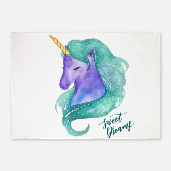 Beautiful Unicorn Sweet Dreams 5'x7'Area Rug