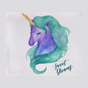 Beautiful Unicorn Sweet Dreams Throw Blanket