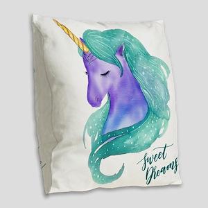 Beautiful Unicorn Sweet Dreams Burlap Throw Pillow