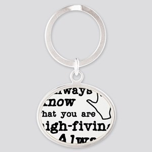 high-fiving Oval Keychain