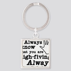 high-fiving Square Keychain