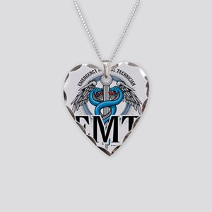EMT-Caduceus-Blue Necklace Heart Charm