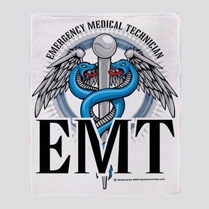 EMT-Caduceus-Blue Throw Blanket