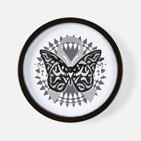 Brain-Cancer-Butterfly-Tribal-blk Wall Clock