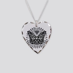Brain-Cancer-Butterfly-Tribal Necklace Heart Charm