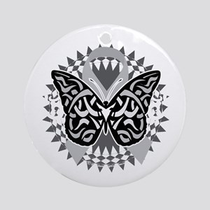 Brain-Cancer-Butterfly-Tribal-blk Round Ornament