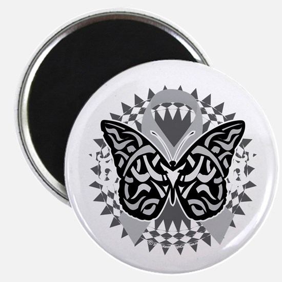 Brain-Cancer-Butterfly-Tribal-blk Magnet