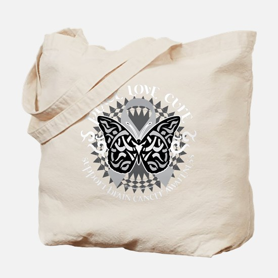 Brain-Cancer-Butterfly-Tribal-blk Tote Bag