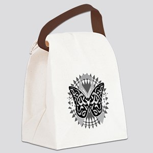 Brain-Cancer-Butterfly-Tribal-blk Canvas Lunch Bag