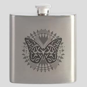 Brain-Cancer-Butterfly-Tribal-blk Flask