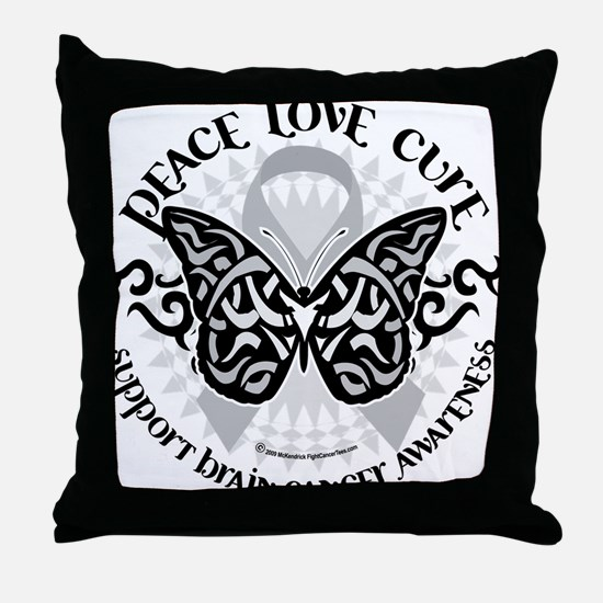 Brain-Cancer-Butterfly-Tribal Throw Pillow