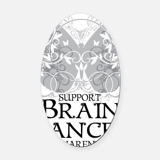 Brain-Cancer-Butterfly Oval Car Magnet