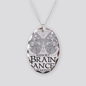 Brain-Cancer-Butterfly Necklace Oval Charm