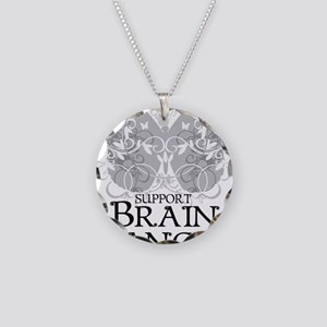 Brain-Cancer-Butterfly Necklace Circle Charm