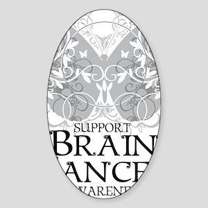 Brain-Cancer-Butterfly Sticker (Oval)