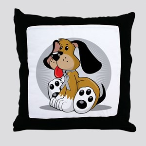 Brain-Cancer-Dog-blk Throw Pillow