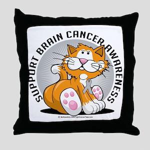 Brain-Cancer-Cat Throw Pillow