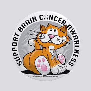 Brain-Cancer-Cat Round Ornament